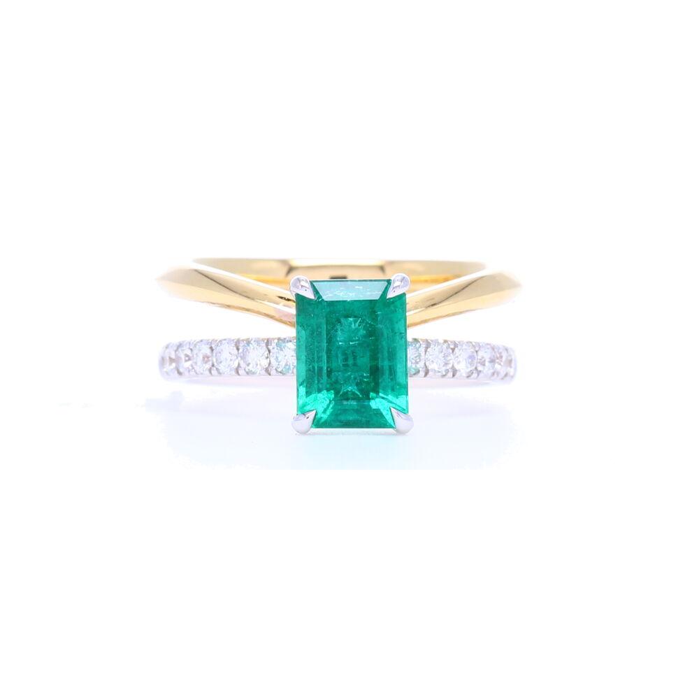 18k Yellow Gold Emerald Cut Zambian Emerald Ring with Split Diamond Shank Band
