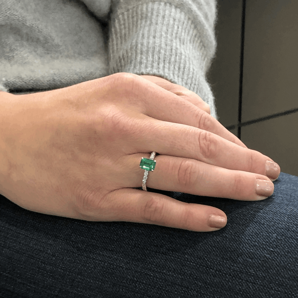 Image 2 for 18k White GoldZambian Emerald Solitaire with Pave Diamond Shank