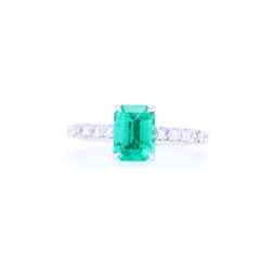 Closeup photo of 18k White GoldZambian Emerald Solitaire with Pave Diamond Shank
