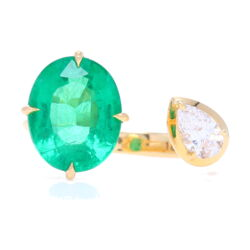 Closeup photo of Open Front Split Emerald and Diamond Ring Set in Yellow Gold