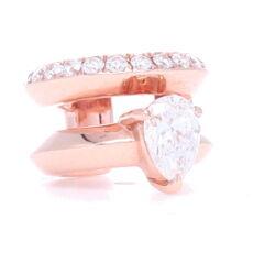 Closeup photo of 18k Rose Gold Diamond Ear Cuff