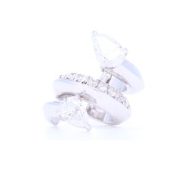 Closeup photo of 18k White Gold Diamond Ear Cuff with Pear Shaped Diamonds