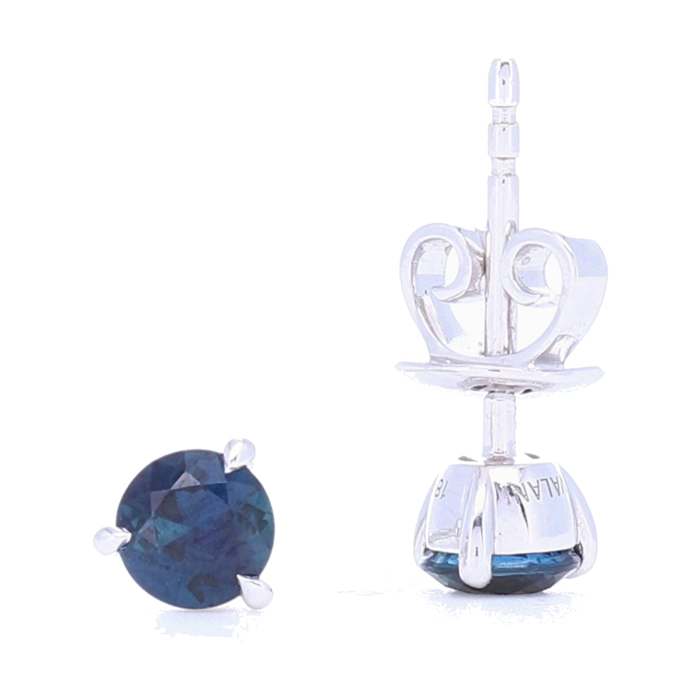 Image 2 for 3 Prong Set Blue Sapphire Studs