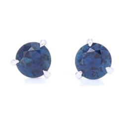 Closeup photo of 18K White Gold .85 Carat Blue Sapphire Studs
