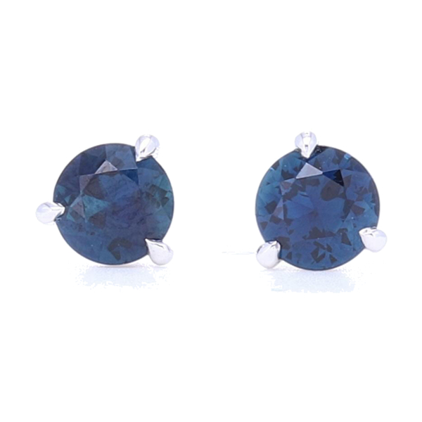 Closeup photo of 3 Prong Set Blue Sapphire Studs