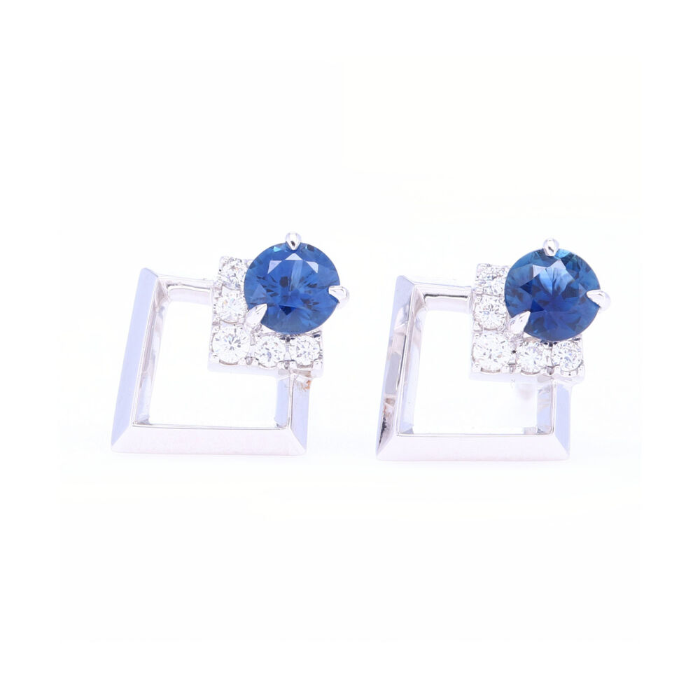 Contemporary 18k White Gold Diamond and Blue Sapphire Studs.