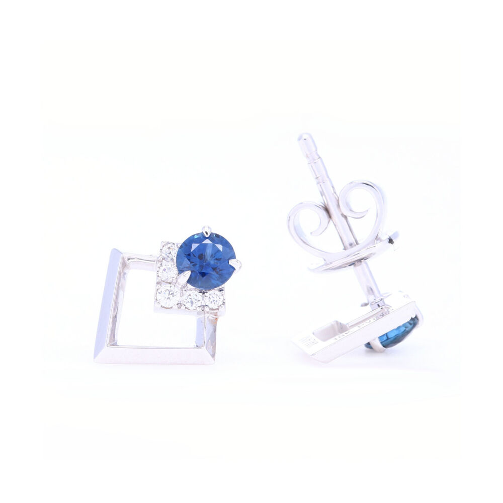 Image 2 for Contemporary 18k White Gold Diamond and Blue Sapphire Studs.