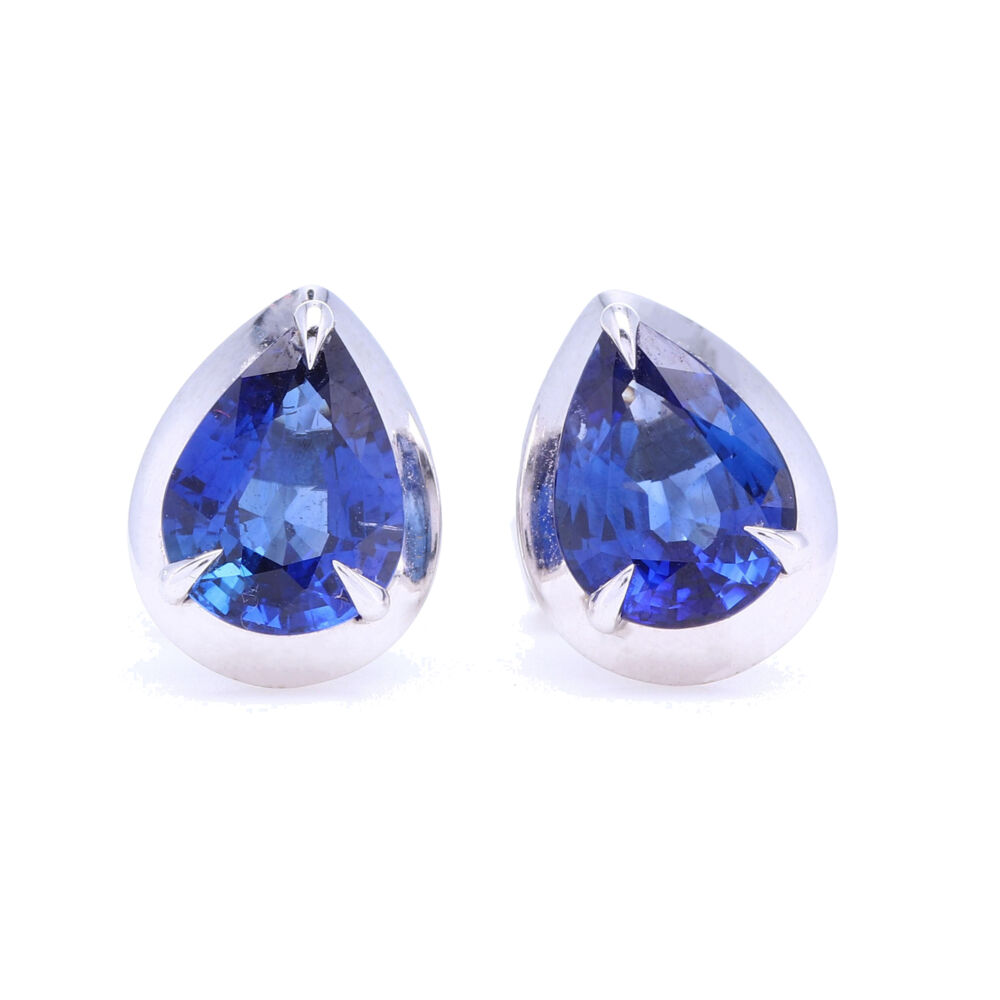 Pear Shaped Blue Sapphire Bezel Set Studs