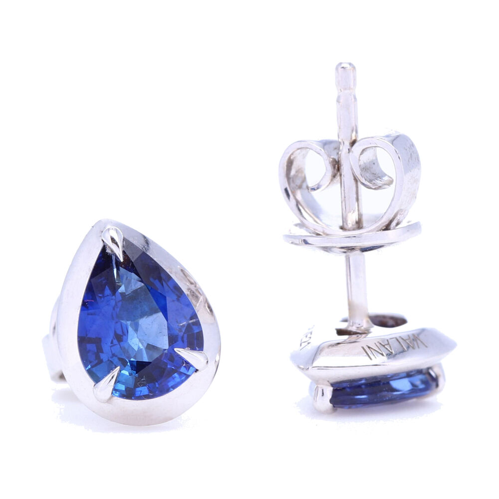 Image 2 for Pear Shaped Blue Sapphire Bezel Set Studs