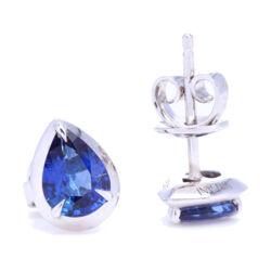Closeup photo of Pear Shaped Blue Sapphire Bezel Set Studs