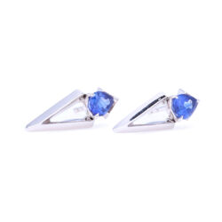 Closeup photo of 18k White Gold Pear Cut Blue Sapphire Abstract Studs