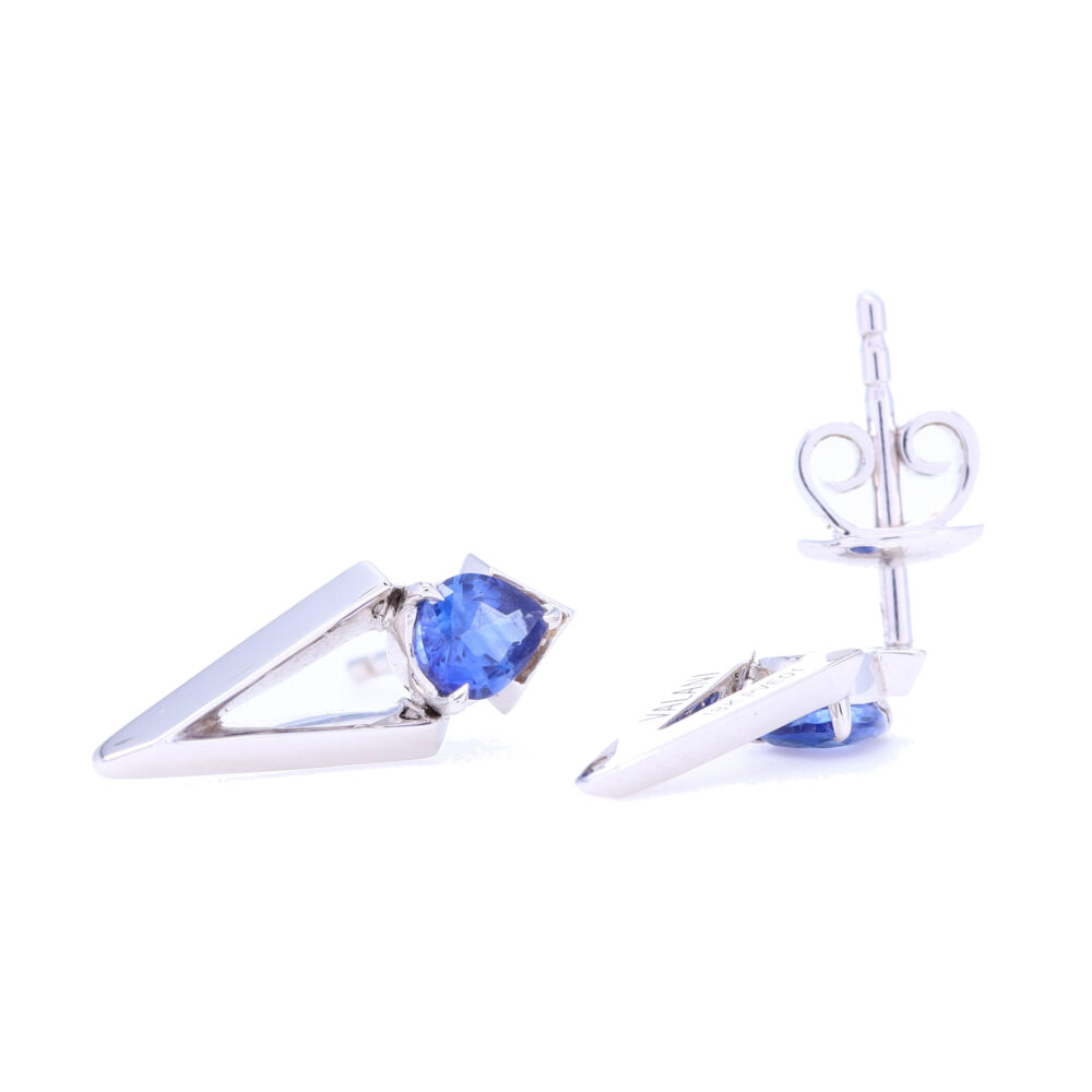 Image 2 for 18k White Gold Pear Cut Blue Sapphire Abstract Studs
