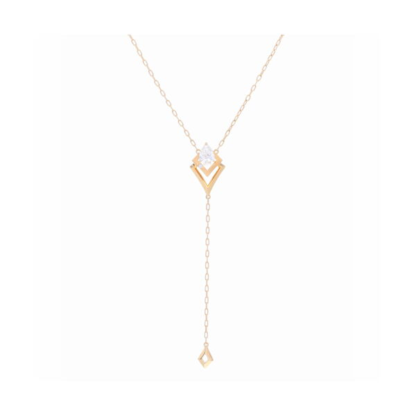Closeup photo of 18k Yellow Gold Y Shaped Diamond Necklace