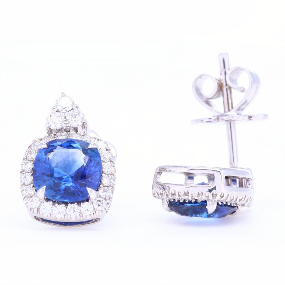 Image 2 for Cushion Blue Sapphire Studs with Diamond Halo