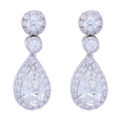 Closeup photo of Pear Shaped Halo Diamond Dangle Earrings