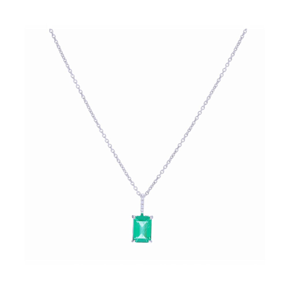 18k White Gold Emerald Cut Zambian Emerald Pendant Necklace