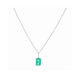 Closeup photo of 18k White Gold Emerald Cut Zambian Emerald Pendant Necklace