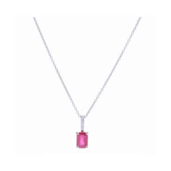 Closeup photo of 18k White Gold Emerald Cut Ruby Pendant Necklace