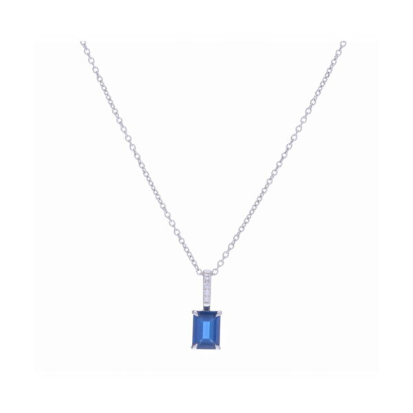 Closeup photo of 18k White Gold Emerald Cut Blue Sapphire Pendant Necklace