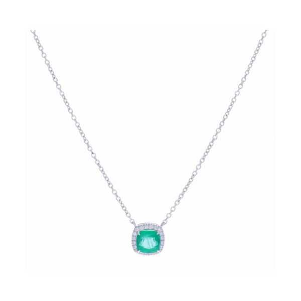 Closeup photo of 18k White Gold Halo Set Cushion Zambian Emerald Pendant Necklace