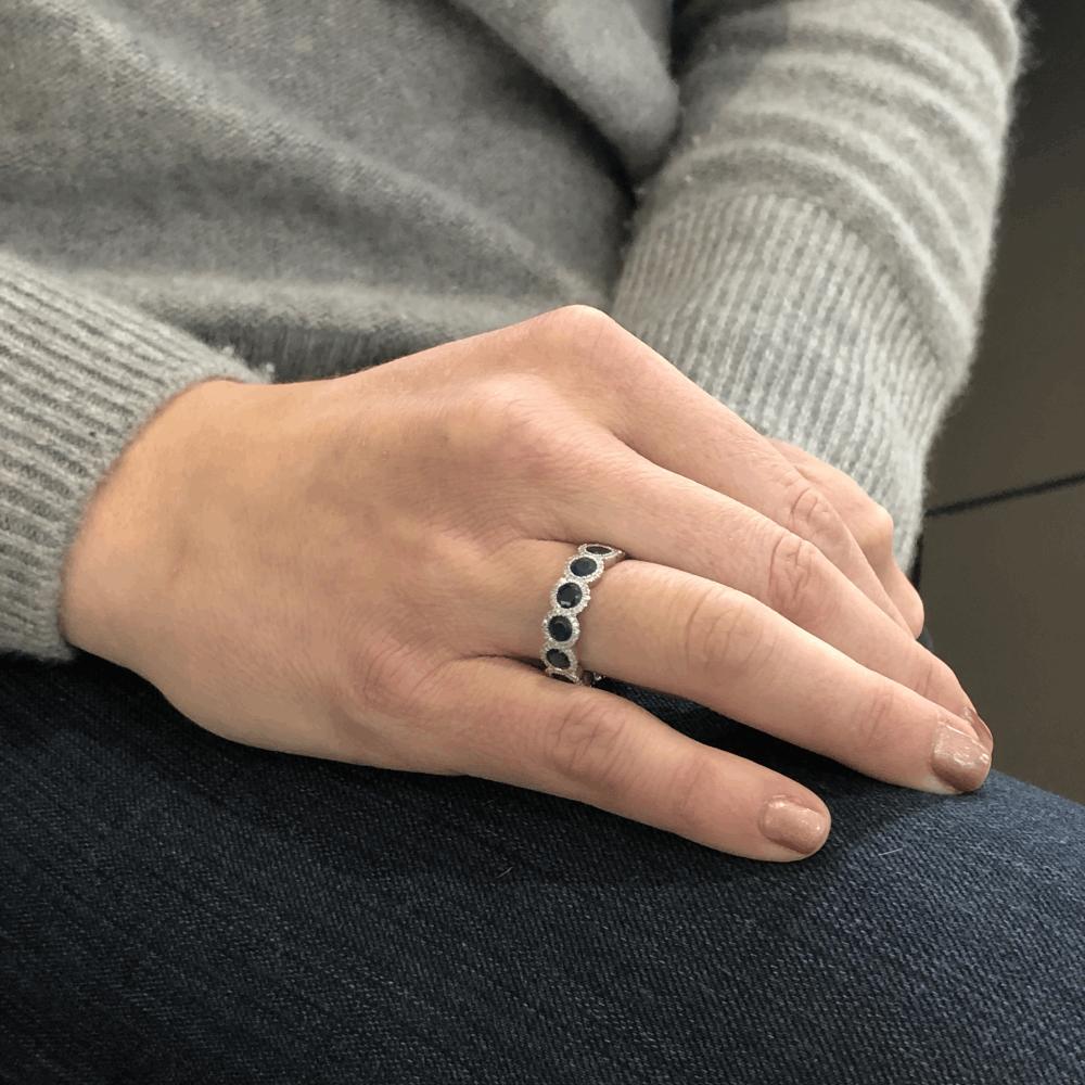 Image 2 for 18k White Gold Diamond Halo Set Round Blue Sapphire Eternity Ring