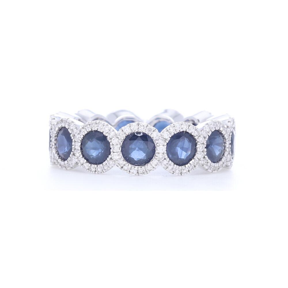 18k White Gold Diamond Halo Set Round Blue Sapphire Eternity Ring