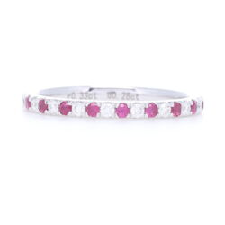 Closeup photo of Round Cut Diamond and Ruby Alternating Stack Ring