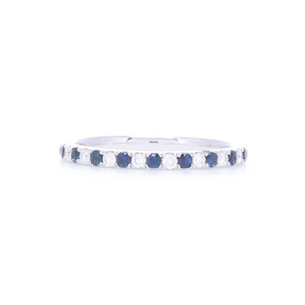 Closeup photo of Round Cut Diamond and Sapphire Alternating Stack Ring