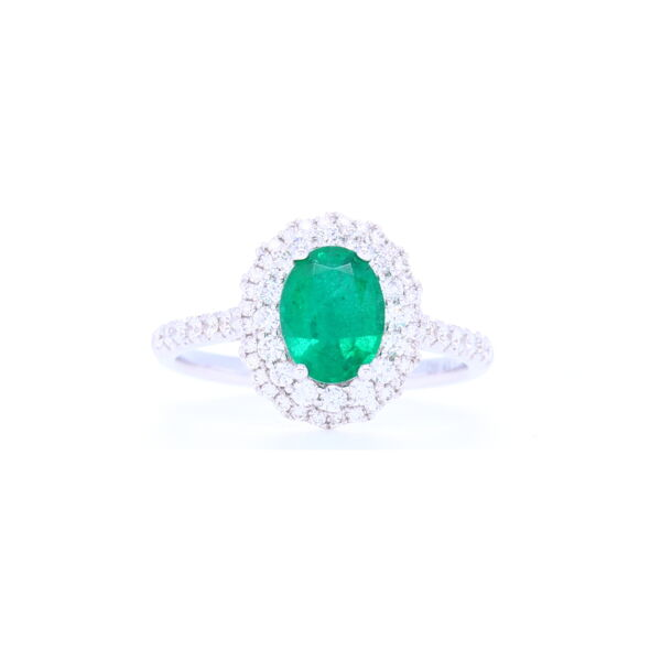 Closeup photo of 18k White Gold Halo Set Oval Cut Zambian Emerald Ring with Diamond Shank
