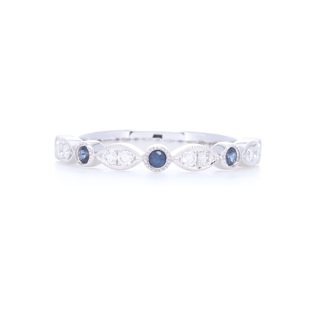 14k White gold Sapphire and Diamond Stack Ring