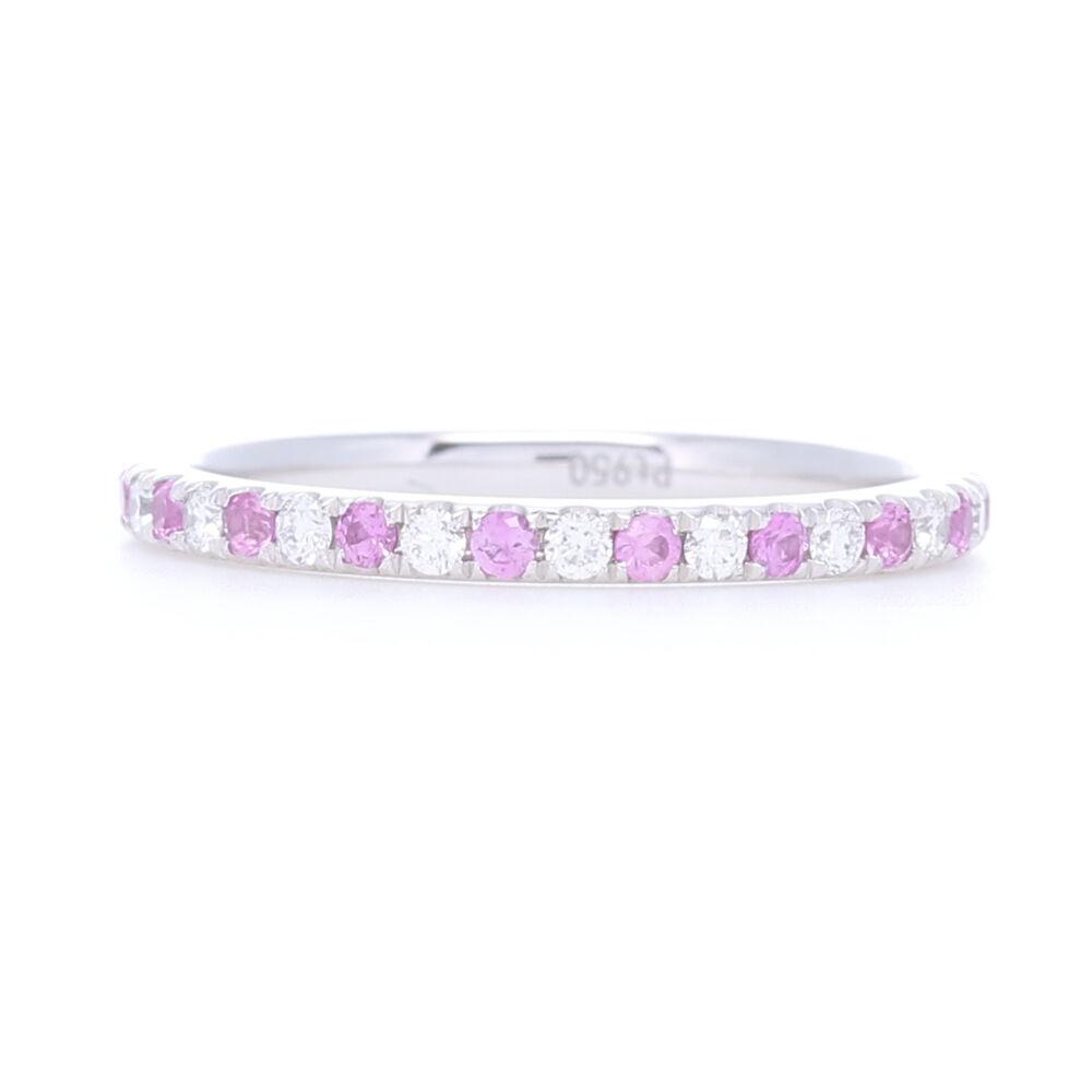 Platinum Alternating Pink Sapphire and Diamond Stack Eternity Ring