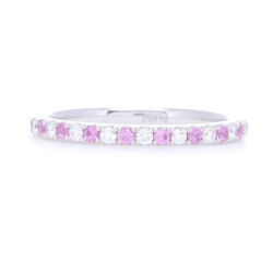 Closeup photo of Platinum Alternating Pink Sapphire and Diamond Stack Eternity Ring