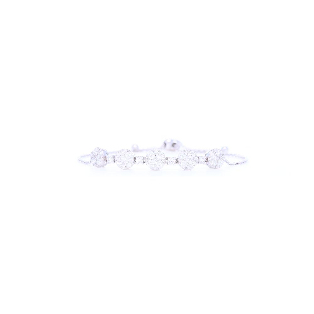 14K White Gold Round Diamond Bolo Bracelet