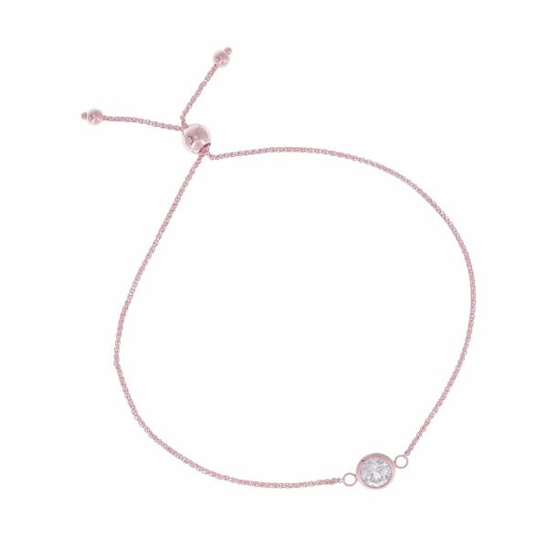 Closeup photo of Single Bezel Set Diamond Bolo Bracelet Set in 14k Rose Gold