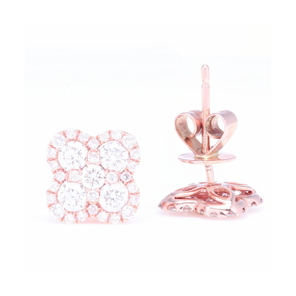 Image 2 for 14k Rose Gold Pave Diamond Clover Stud Earrings