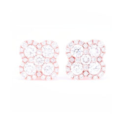 Closeup photo of 14k Rose Gold Pave Diamond Clover Stud Earrings