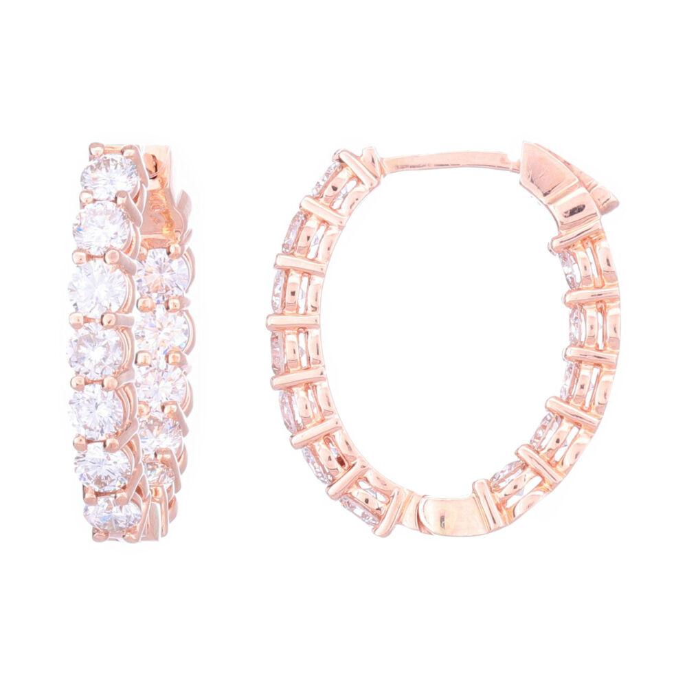 Oval Shaped In & Out Hoop Brilliant Cut Diamond Earrings