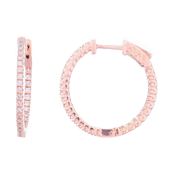 Closeup photo of 14k Rose Gold Round Diamond In & Out Huggie Hoop Earrings