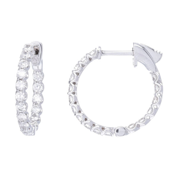 Closeup photo of Shared Prong Round Diamond In & Out Round Shape Hoop Earrings