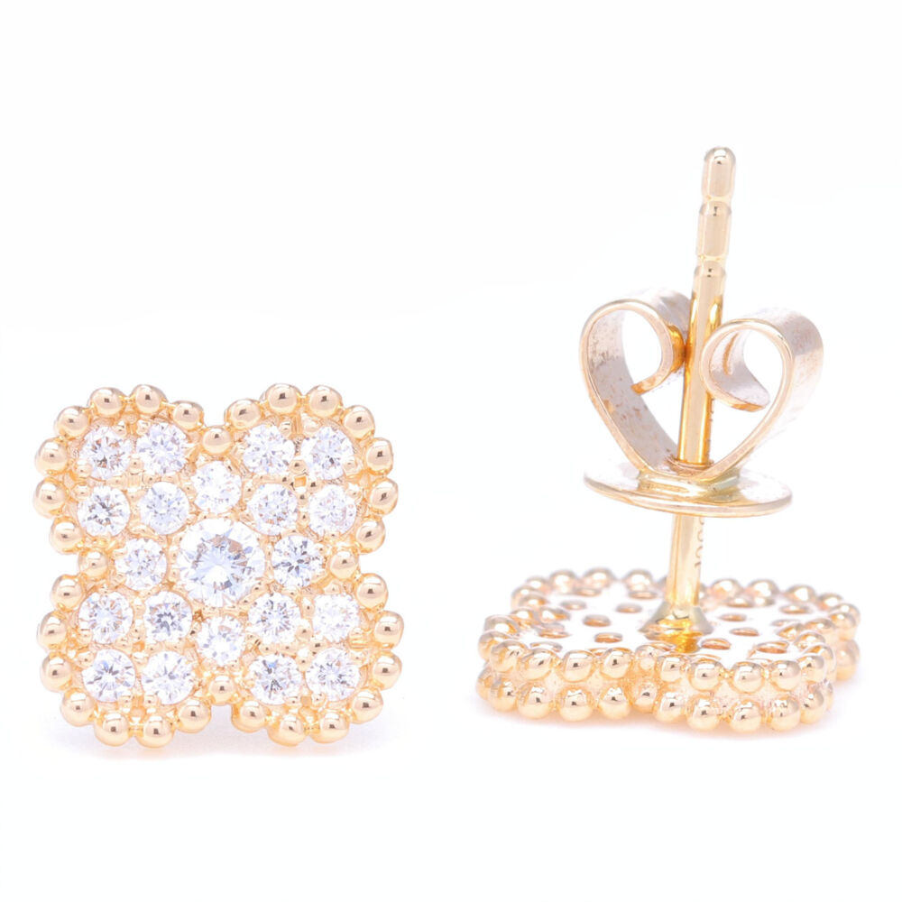 Image 2 for 14K Yellow Gold Clover Motif Diamond Earrings
