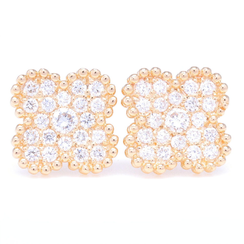 14K Yellow Gold Clover Motif Diamond Earrings