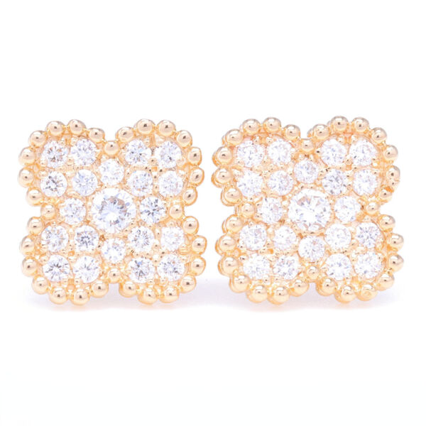 Closeup photo of 14K Yellow Gold Clover Motif Diamond Earrings