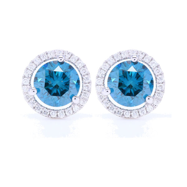 Closeup photo of Blue Diamond Stud Earrings with White Diamond Halo