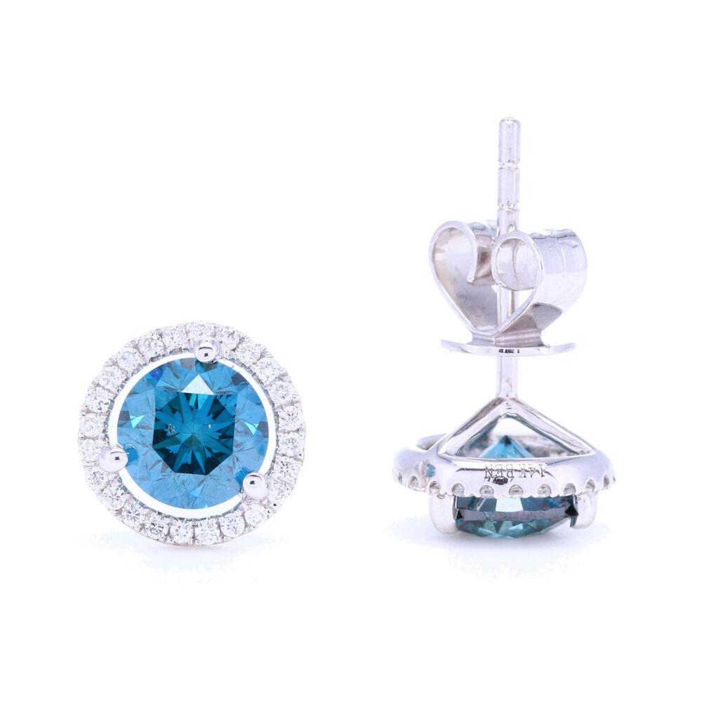 Image 2 for 18k White Gold Prong Set Blue Diamond Stud Earrings with White Diamond Halo