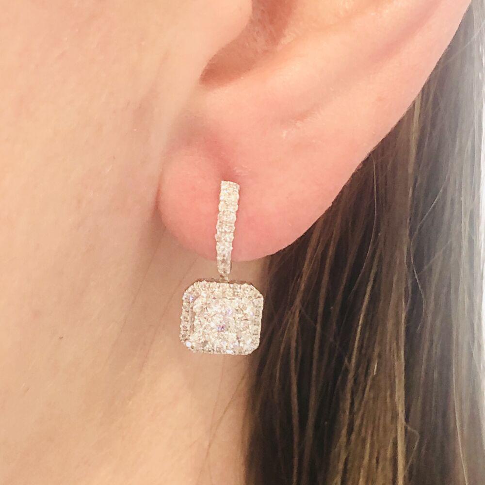 Image 2 for 14k White Gold Diamond Square Drop Dangle Diamond Earrings