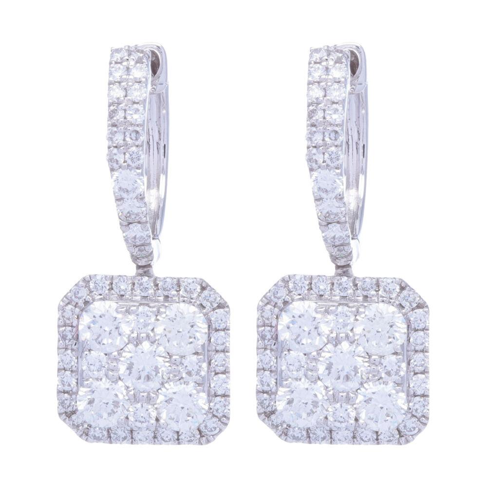 14k White Gold Diamond Square Drop Dangle Diamond Earrings