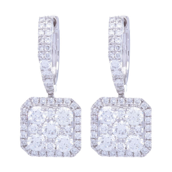 Closeup photo of 14k White Gold Diamond Square Drop Dangle Diamond Earrings