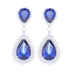 Closeup photo of 14k White Gold Round Diamond and Diffused Sapphire Earrings