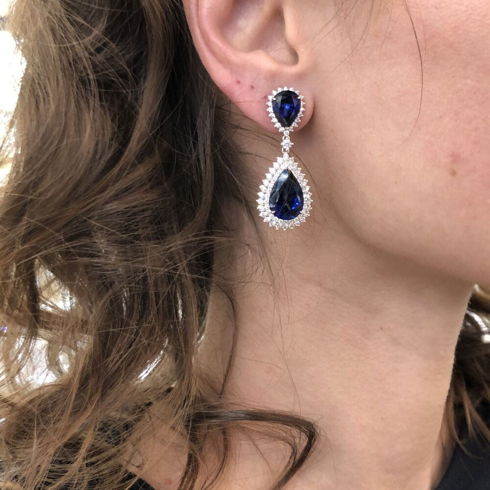 Image 2 for 14k White Gold Round Diamond and Diffused Sapphire Earrings