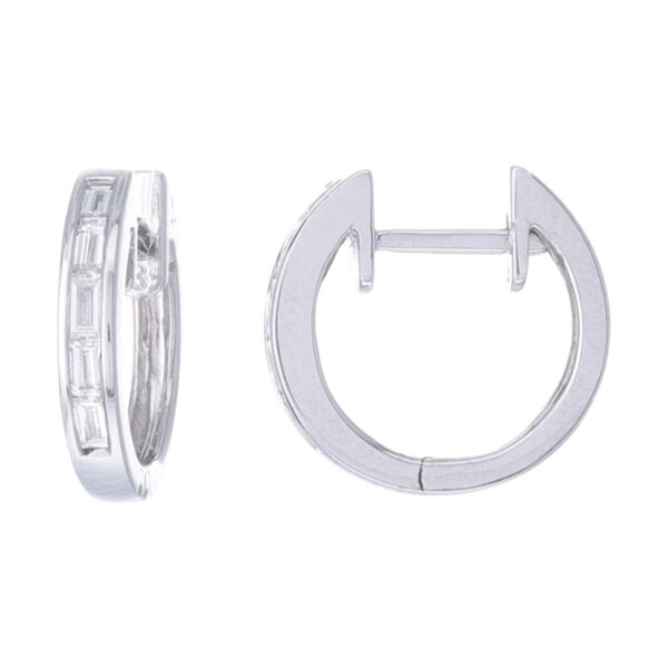 Closeup photo of Channel Set Step Cut Huggie Hoop Earrings